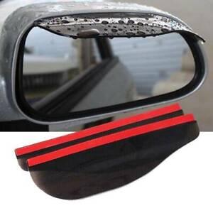 2x Black Car Rear View Side Mirror Rain Boards Sun Visor Shade Shields Universal