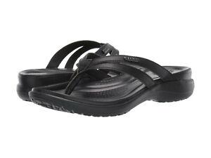 Women Crocs Capri Flip Flop Sandal 205797-060 Black Black 100% Authentic New