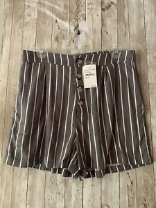 Elodie High Waisted Pin Stripe Womens Shorts NWT Large