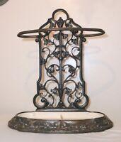 LARGE antique ornate cast iron umbrella cane walking stick floor stand holder