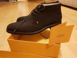TOD'S scarpe uomo nr.8 (42) Polacchino in camoscio verde scuro suola in gomma.