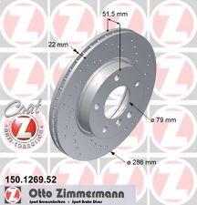 BMW E46 Serie 3 Coppia di Zimmermann Sport Anteriore Dischi Freno (34111162282)