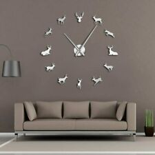Deer Heads Stick On The DIY Wall Giant Clock Woodland Reindeer Living Room Watch