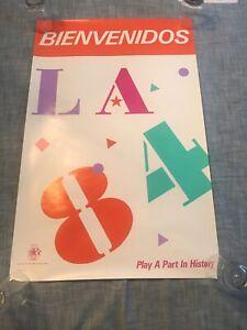 RARE Los Angeles 1984 USA Jeffries Olympics VINTAGE Bienvenidos Poster 80s CA SP