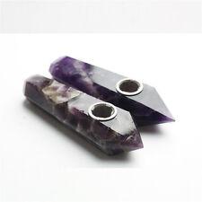 2PCS Precious Stone Natural Amethyst Crystal Tobacco Rock Wand Smoking Pipes