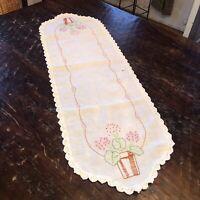 """Vintage Handmade Crocheted Embroidered Flower Table Runner Dresser 36.5""""x 12"""""""