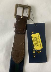 Polo Ralph Lauren Stripe Leather Belt Navy Forest Green  NWT