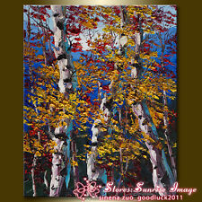 Birch Tree Forest Seasons Landscape Oil Painting wall art decor /No Frame P1647