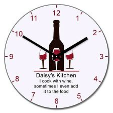 Personalised Kitchen Cook With Wine Design Wall Clock - Add Name Gift 30cm