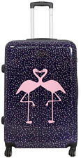 Hartschalen Reise Koffer Trolley 4 Rollen Dehnfalte - Kissing Flamingos Gr. XL