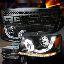 04-08 Ford F150 Black SMD LED Halo DRL Projector Headlights+Raptor Hood Grille