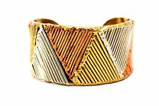 SIGNED Vtg MIXED METAL Modernist Copper Brass Silver HANDWROUGHT Cuff Bracelet