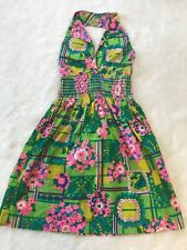 Vintage Flower Power Barkcloth Halter Dress Size Medium