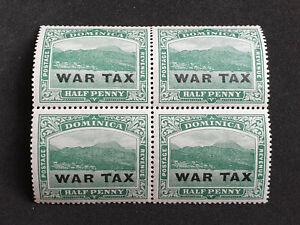DOMINICA 1918 SG57 ½d DEEP GREEN WAR TAX OVPT UNMOUNTED MINT BLOCK OF FOUR
