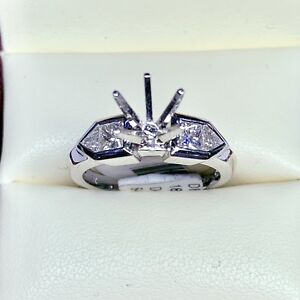 0.80ct Diamond Semi Mount Engagement Ring in 18k White Gold