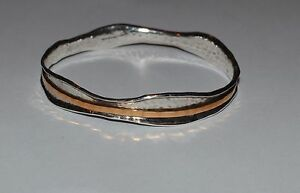 SILPADA STERLING SILVER AND COPPER HAMMERED DOUBLE BAND BANGLE BRACELET