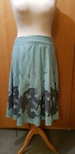 Double Layered linen blend Skirt turquiose blue Size 14 hippy embordered details