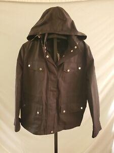 NWT Lauren Ralph Lauren Black Water Resistant Hooded Jacket Rain coat Size XL
