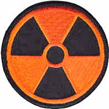 Iron On/ Sew On Embroidered Patch Badge Radiation Radioactive Hazard Warning Log