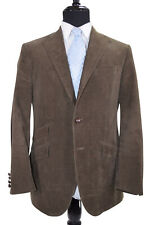 Polo Made In Italy Sport Coat Size 42R In Muddy Green Corduroy W/ Elbow Patches