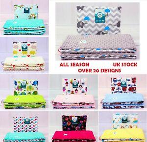 Dimple Minky Cotton Set Quilt & Pillow Blanket Pram Cot Car Playmat 2-sided