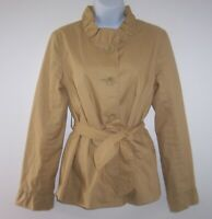 J Crew Blazer Jacket Women's 4 Khaki Frill Ruffles Belted Coat Stand Up Collar