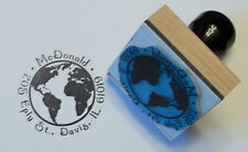 Custom Globe rubber stamp for Address, Ex Libris or Bookplate by Amazing Arts