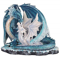 Blue Dragon with White Baby Dragon Medieval Fantasy Figurine Decoration New