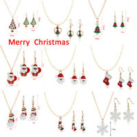 Christmas Necklace+Earrings Set XMAS Tree Pendant Sweater Chain Jewelry Gift-WI