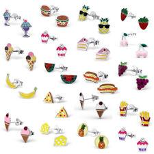 Sterling Silver Earrings Childrens Ear Studs Kawaii Crystal Food Cupcake Fruit