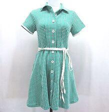 eShakti Green Skater Shirt Dress Womans 6 Bubble Knit Circle Skirt Retro Belted