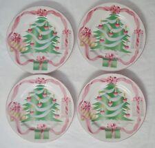 """4 Sango China Home for Christmas Salad Plates 8"""" Dessert Plate Lot Set Tree Pink"""