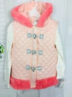 Kids Girls Little Lass Hooded Pink Vest Sparkle Long Sleeve Shirt Set New Sz 5T