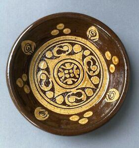 Small Studio Pottery Dish MP Mark Brown Treacle Glaze Tan Sgraffito Pattern