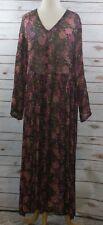 VINTAGE 90'S NOSTALGIA DRESS M Medium BURGUNDY ORANGE SHEAR Boho PLEATED FULL d