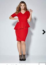 MAGISCULPT SIMPLY BE PLUS CURVE 24 RED PEPLUM BODYCON PENCIL DRESS BNWT SEXY