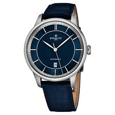 Perrelet Men's First Class Blue Dial Blue Leather Strap Automatic Watch A1073/7