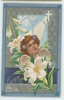 Saintly Holy Angel with Cross, Light of Christ EASTER Vintage Postcard