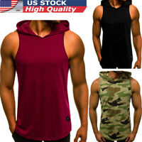 Men's Casual Sleeveless Hoodie Sport Pullover Sweater Casual Loose Tops T-Shirt