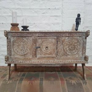 Made to Order Dynasty Hand Carved Indian Solid Wood Buffet Sideboard Whitewash L