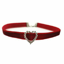 Wine Red Velvet Neck Choker with Silver Heart charm Rhinestones Love Necklace