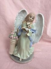 Vintage Porcelain Music Box Angel With Puppy Gold Gild Plays Joy To The World