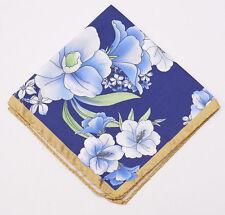 New $140 BATTISTI NAPOLI Navy-Gold-Blue Floral Silk Pocket Square Hand-Rolled