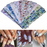 16 Sheets Gradient Marble Shell Design Nail Art Foils Transfer Sticker Decor HOT