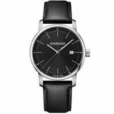 Wenger Men's Watch Urban Classic Quartz Black Dial Leather Strap 01.1741.110