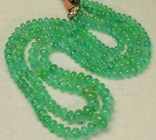 """5mm-12.3MM Large Colombian EMERALD Plain Rondelle Beads 37.5"""" Strand"""