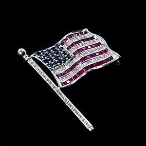 14K WG Diamond Ruby Sapphire American Flag Pin 2.39 TCW Red White Blue Men Women