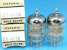 SYLVANIA 407 A GOLD BRAND VACUUM TUBE NOS NIB MATCHED PAIR Valvola Lampe Valve