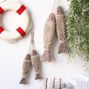 Vintage Hanging Ornament Wood Fish Charm Nautical Cute Handmade Retro Wall Decor
