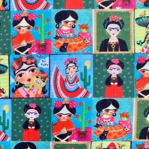 OFFCUT FRIDA KAHLO MEXICAN ARTIST ICON  CHARACTER  FABRIC